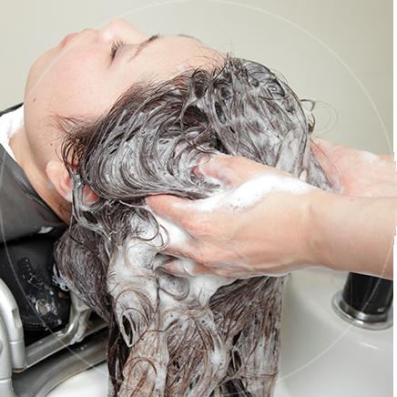 ケアネスシャンプーで余分な皮脂や汚れを取り、コラーゲン成分を残すように優しく洗う